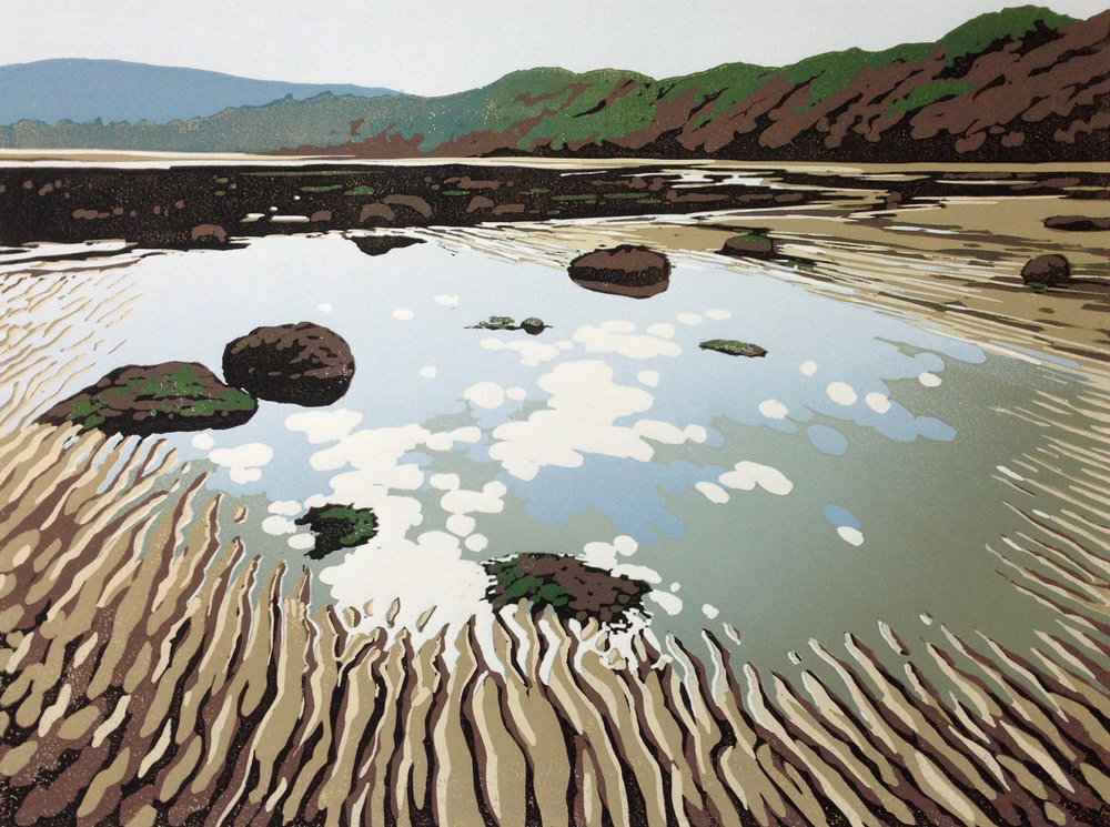 Tides Out at Robin's Hood Bay | 40cm x 30cm Reduction Linocut