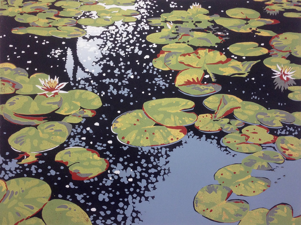 Lily Pond Relfections | 40cm x 30cm Reduction Linocut