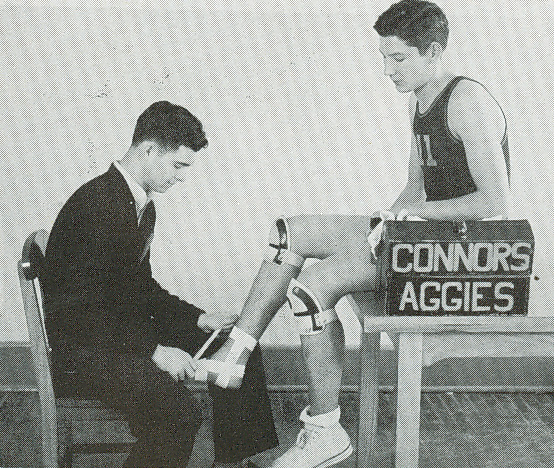 Getting ready for a basketball game 1951