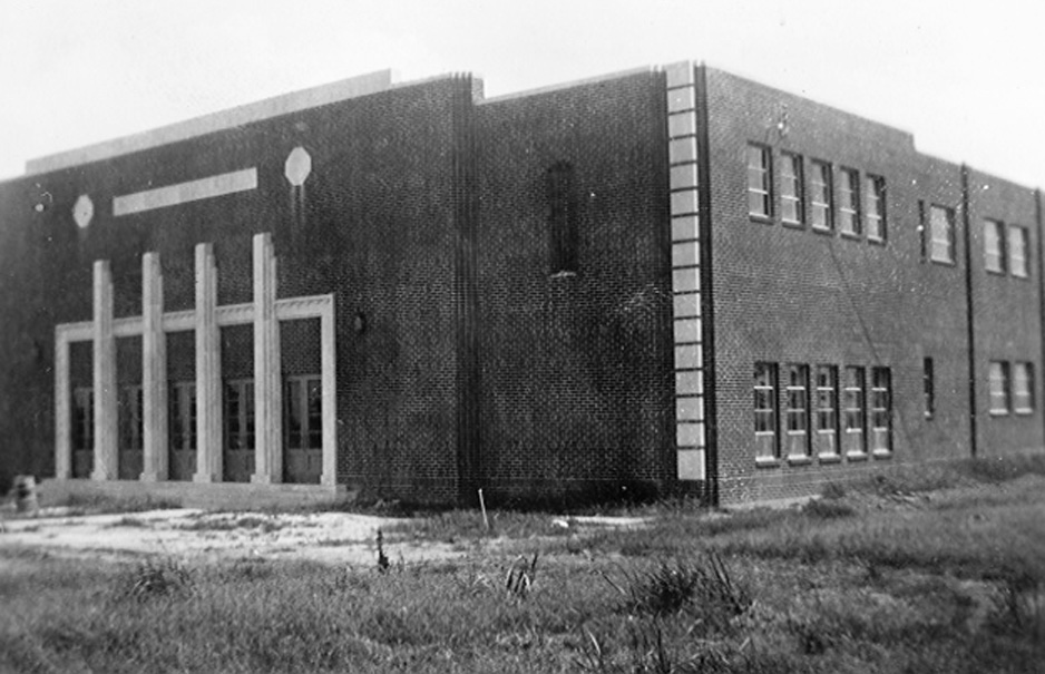 The gym construction near completion in 1938.