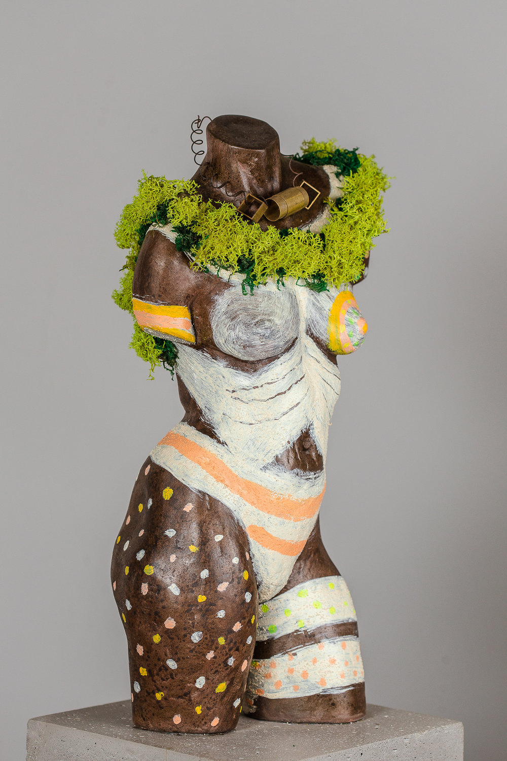 """Africa  Resin w/Found Objects on Concrete  25"""" x 8.5"""" x 8.5"""""""
