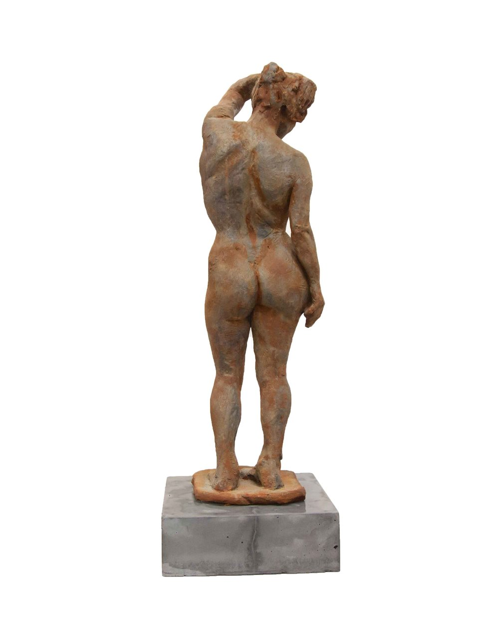 """Standing Figure  High Fired Clay w/Rusted Patina  25"""" x 8.5"""" x 8.5"""""""