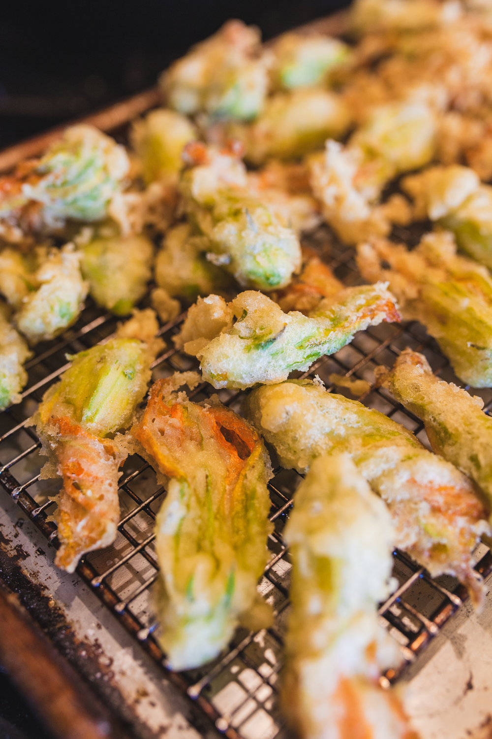 Zucchini blossom tempura photo by Oriana Koren