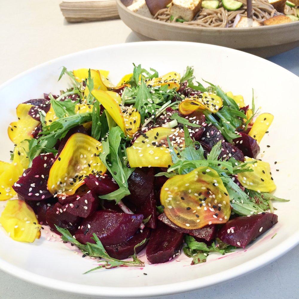 beet salad sesame arugula