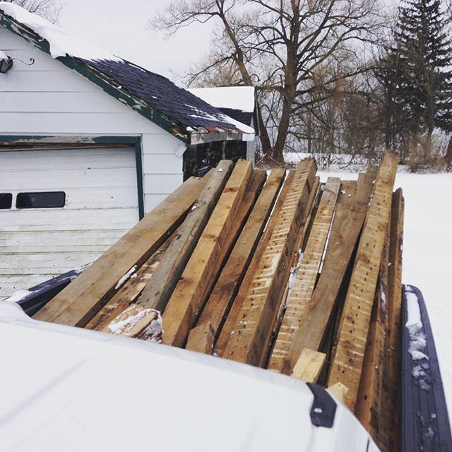Big load of century old dougie fir headed to the shop. #reclaimed #douglasfir #porthope #woodworking #f150