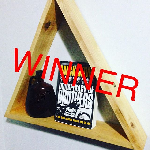 Hey! We've been busy, and slid on drawing a winner but here it is! *drum roll* @beccaroo_hurley you win this awesome triangle shelf! DM us your mailing info and we'll stick it in the mail.