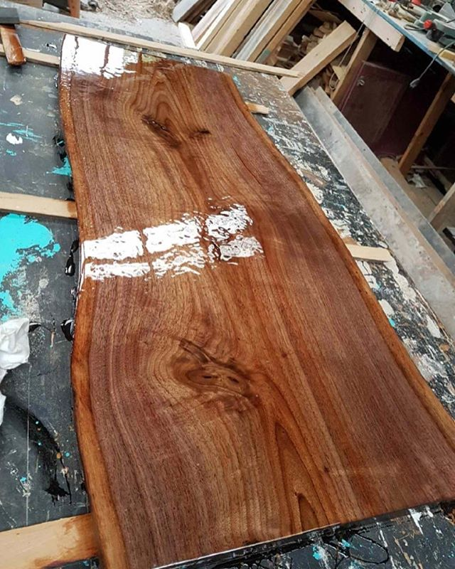 Live edge walnut coffee table top with poured epoxy finish! #liveedge #woodwork #mcm #epoxyfinish #porthope #cobourg #northumberlandcounty #glassfinish