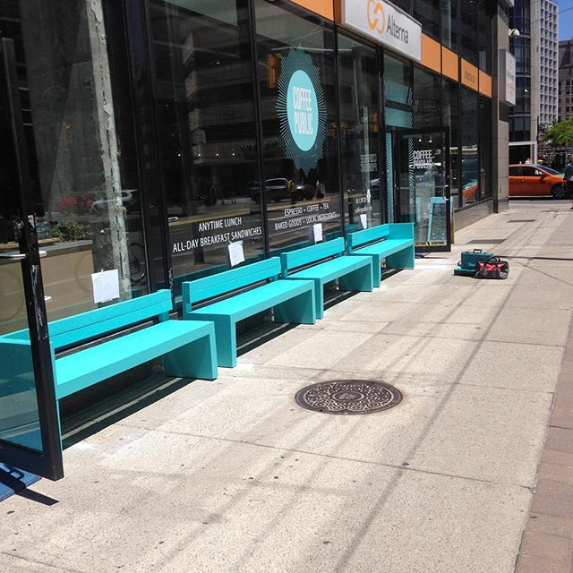 Four exterior benches completed for @coffeepublicto! #coffeepublic #woodwork #benches