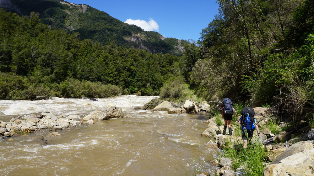 The route down the Matiri Valley required sections of ad lib-ing as the track was under water much of the time.