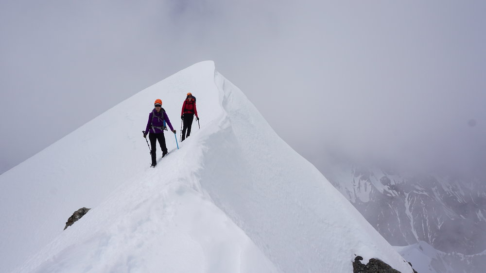 The girls (Summer and Lydia) approaching the summit of Mt Murchison