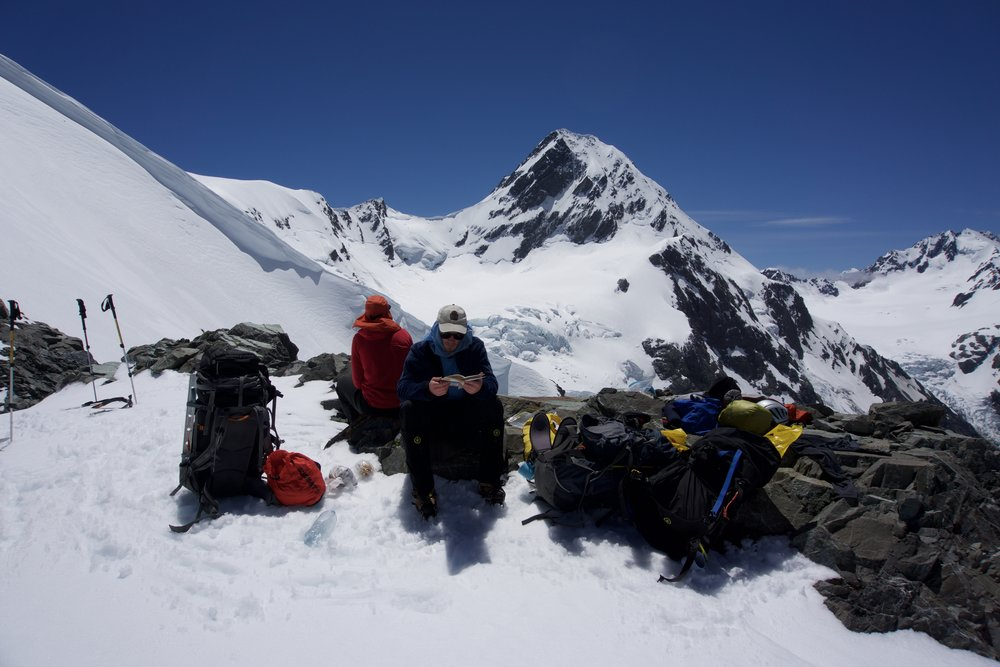 Lunch on McCoy Col. Cornice on the left and Rangitata Col in the background.