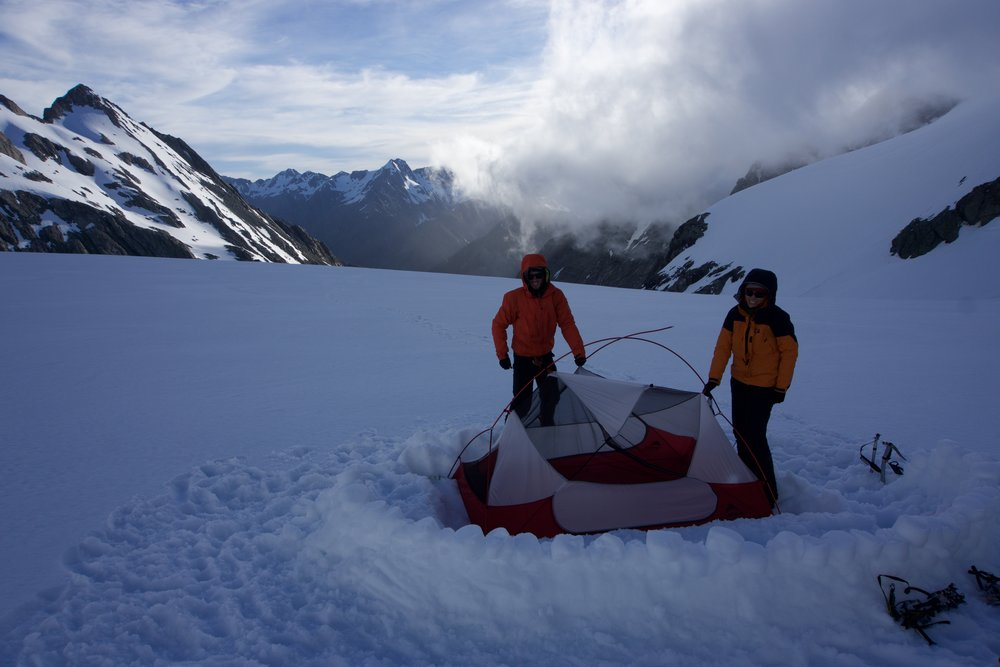 Putting up the ill-fated tent on the Frances Glacier