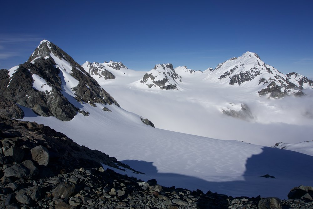 Our route looking over Lambert Col onto the glacier. Some of the last decent weather we were to see for a while...