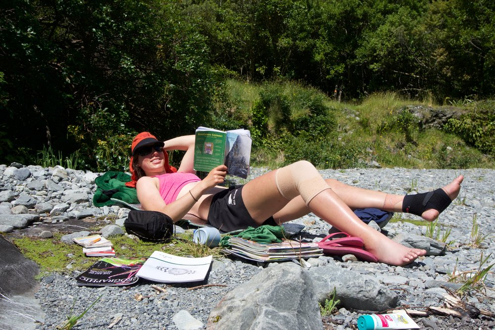 Lydia looking glam in the sun by the Perth River. The braces are just for effect. After losing her kindle, she read Antics  and an old New Zealand Geographic cover to cover. Thanks OUTCers!
