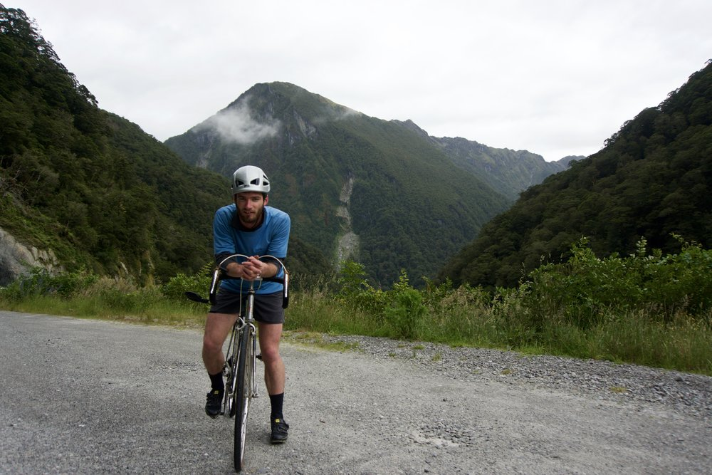 Al taking a break on the ride over Haast Pass.