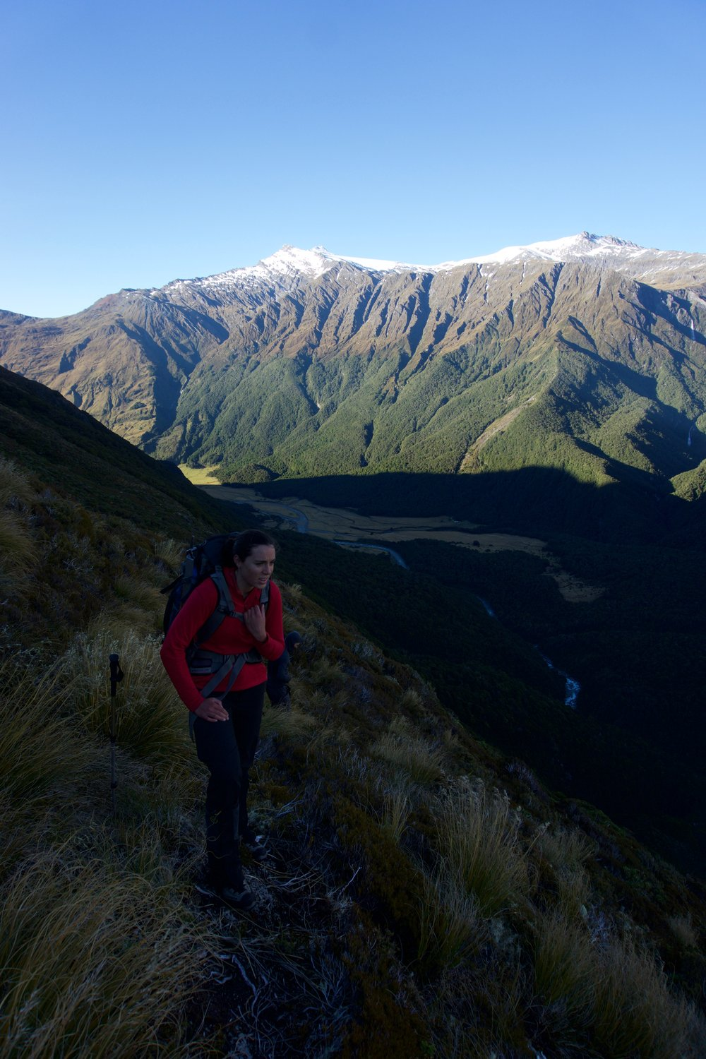 Lydia tops out above the West Matukituki on the morning of our ascent of Rob Roy. Mts Tyndall and Ansted across the valley above the Pylon on the Cascade Saddle route.