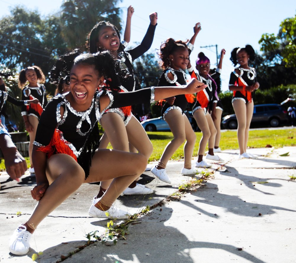 Members of the Prancing Dancerettes rehearse before performing in the 30th Annual City of Tampa Martin Luther King Day Parade on Monday, January 21, 2019 in Tampa, Florida.