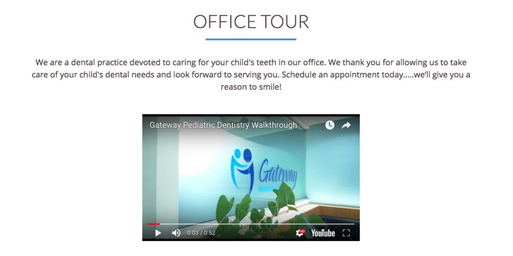 Gateway Pediatric Dentistry's office tour video -