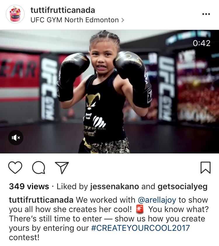 7 year old MMA fighter, Arella Joy on Tutti Frutti's Instagram - for 12 Creative