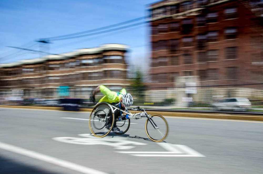 TIM MORRIS COMPETES IN LAST YEAR'S BOSTON MARATHON/PHOTO PROVIDED  A decade after severely injuring his spinal cord, Morris is out for marathon glory.  By  Jamie Ducharme  |  Boston Wellness  | March 21, 2017, 3:19 p.m.