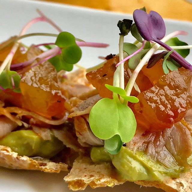 Watermelon Duck Quinoa Crostinis . Soft watermelon chutney, smoked shaved duck, avocado purée. . Join us for this great combination of flavors and textures! . 2245 South Grand Blvd St. Louis MO 63104 . 898-3788 . www.thegardenongrand.com