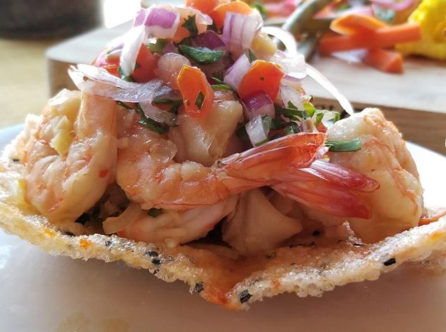 Don't be shellfish. Get two 🦐 . Our Lao Seafood Ceviche features shrimp and calamari infused with citrus and spices and is served on a sesame rice cracker. . . . #ceviche #shrimp #calamari #seafood #citrus #spice #sesame #shellfish #dontbeshellfish #puns #stl #stlouis #shaw