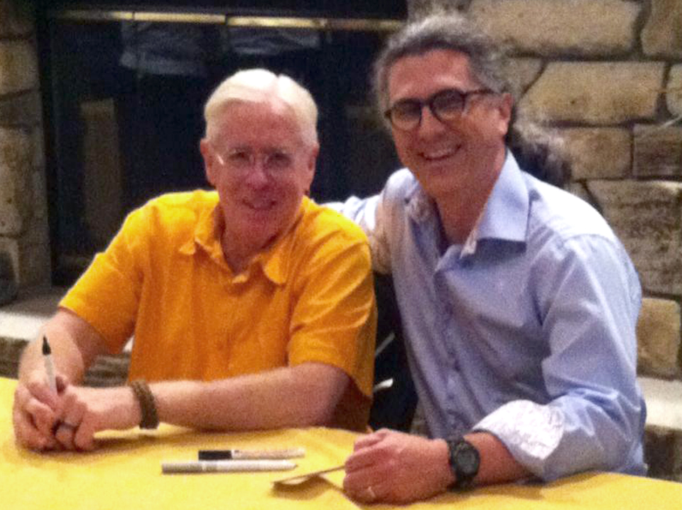 With Bruce Cockburn, after his solo performance at Door County Auditorium, Fish Creek, WI, July 8, 2014
