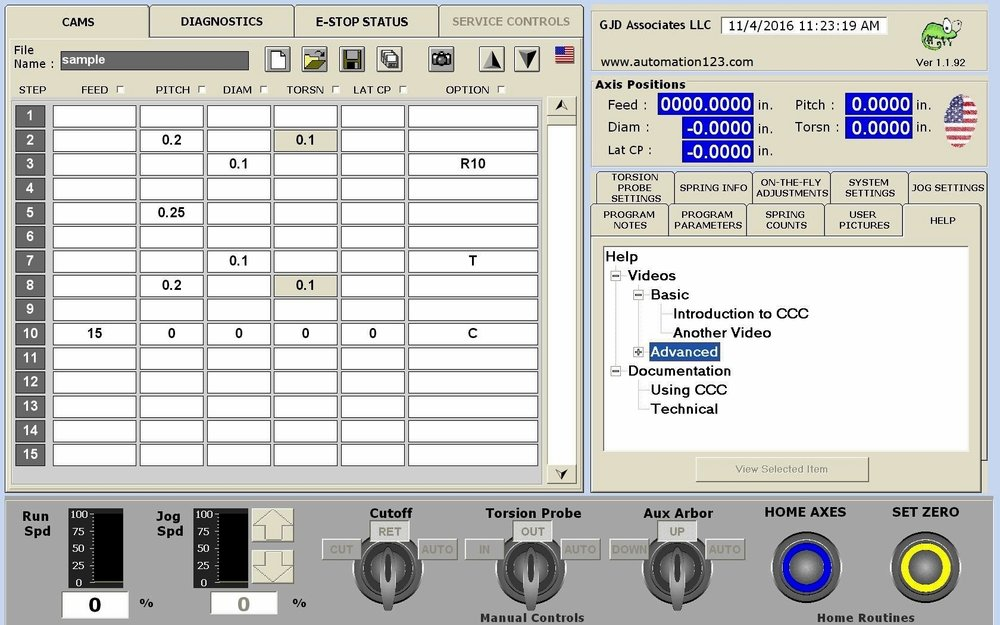 Spring Coiler Control Software - Minimal Learning Curve for Existing Operators of Many Major Spring Coiler Manufacturers