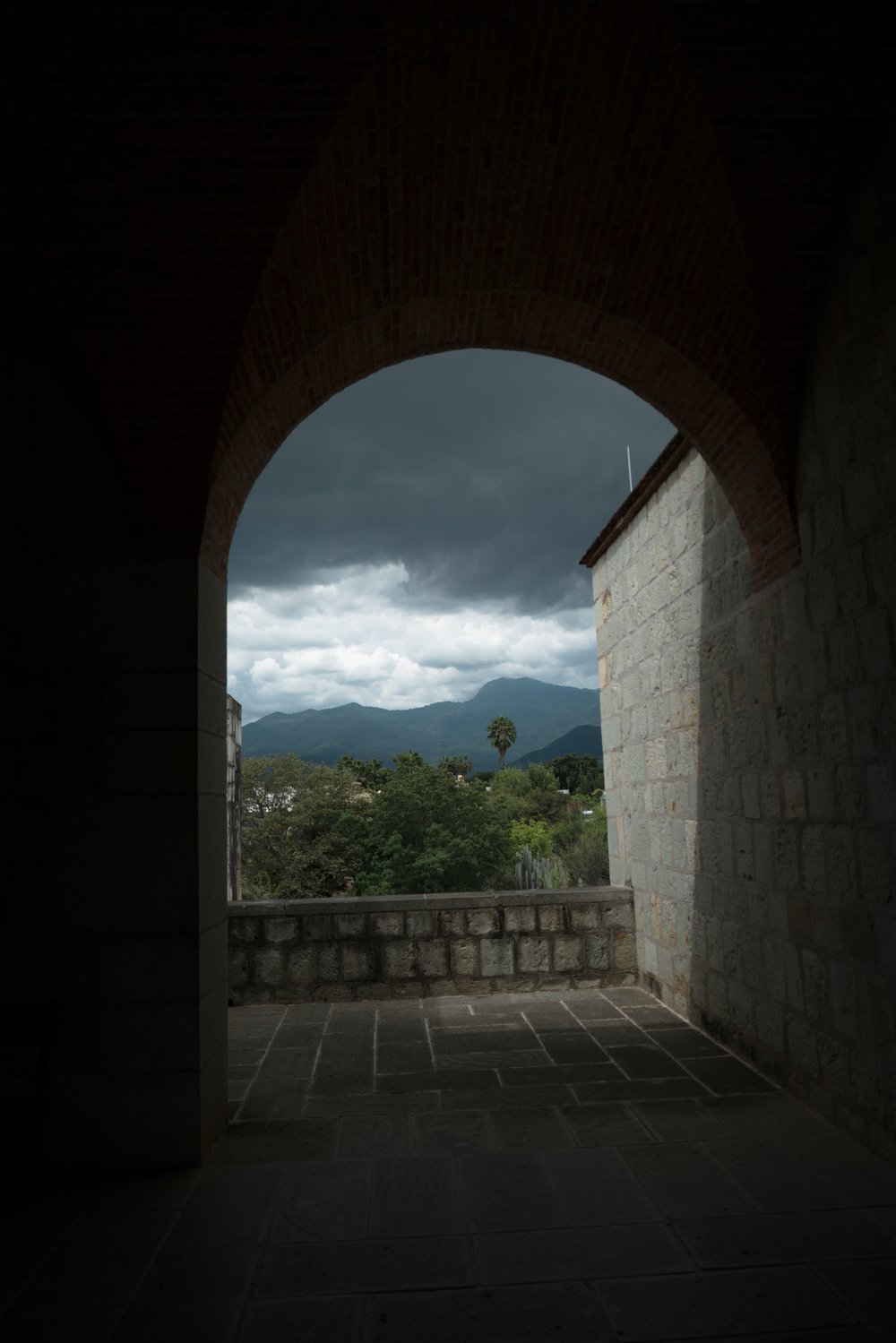 A storm appears over Oaxaca