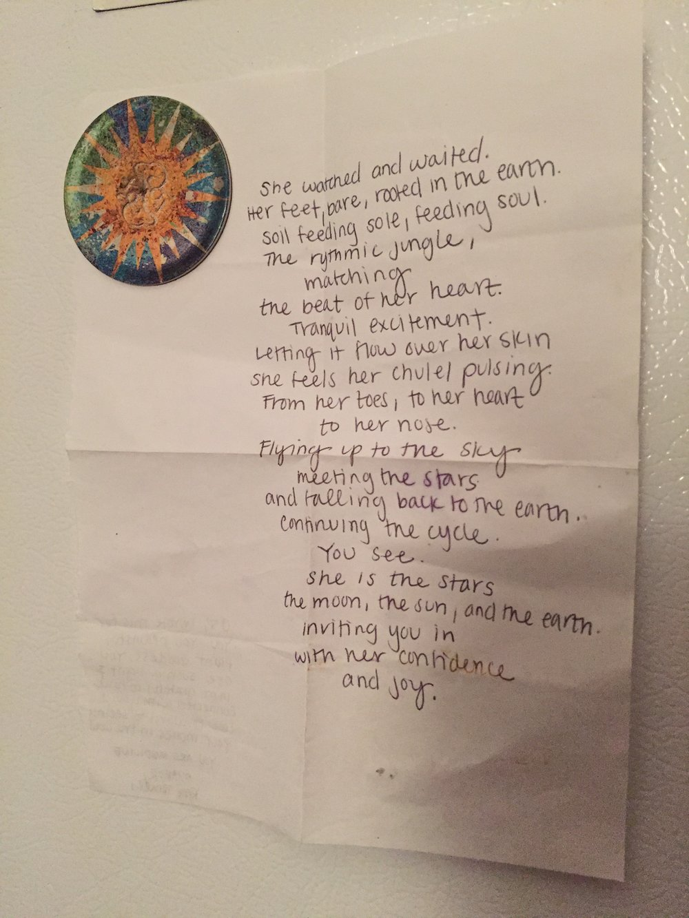 A beautiful poem written for me by an even more beautiful friend!