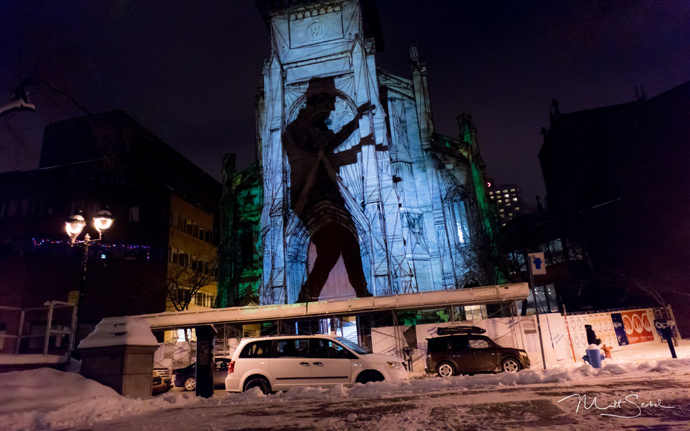 Projection mapping on the Paroisse Saint-Jacques in the Latin Quarters of Montreal, Quebec, Canada. Shot with a Canon EOS M5 at 1/25, F/3.5, and ISO 800.