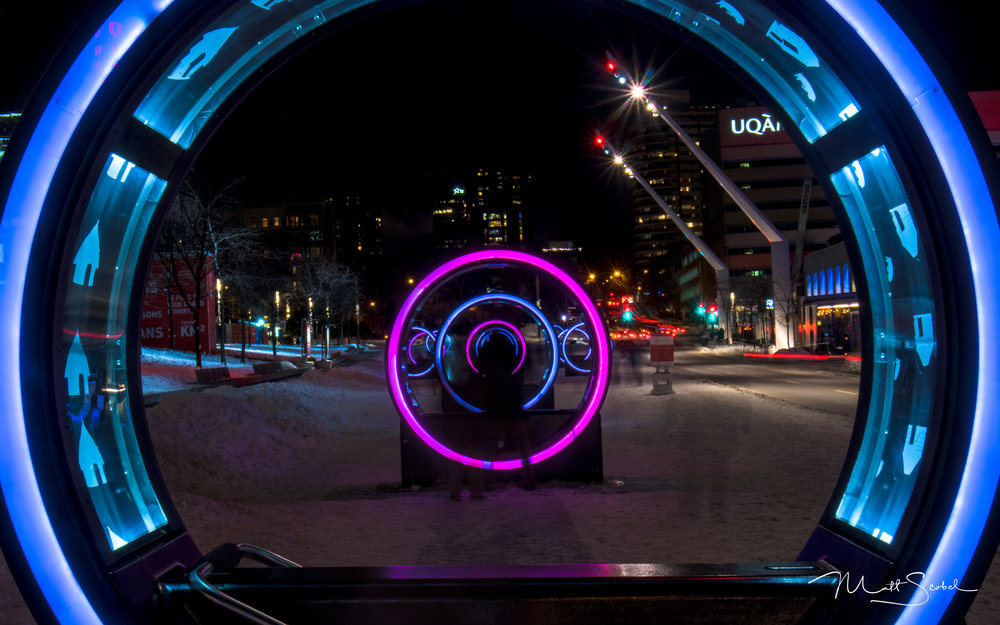 "An art installation called ""Loop"" on display during Montreal's winter Luminothérapie. Taken with a 13 second exposure on a Canon EOS M5 at F/32 and ISO 100."