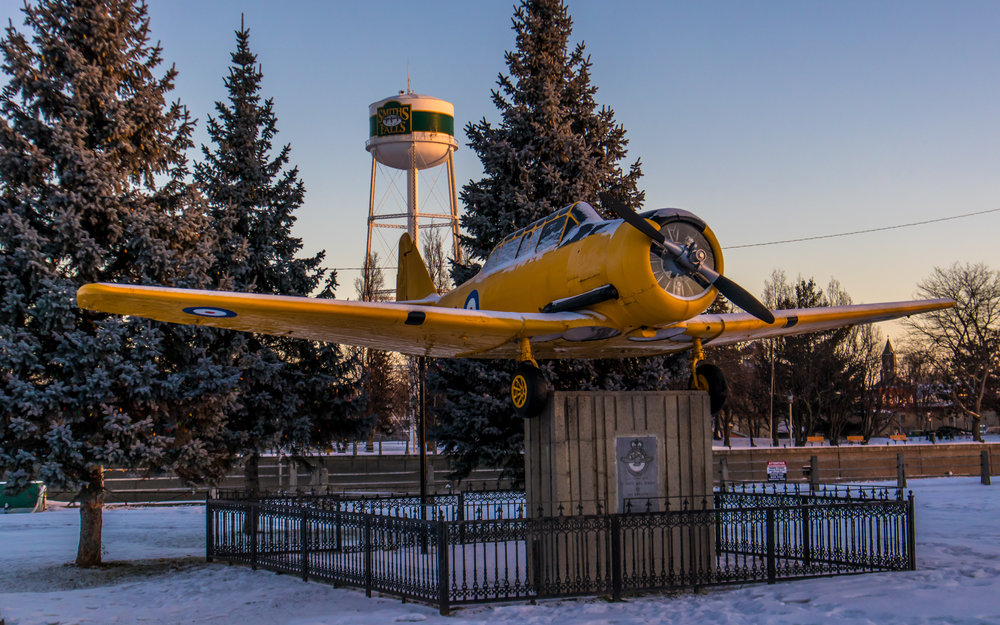 """The Yellow Peril"". A memorial to the plane that thousands used to learned to fly in defence of their country. Taken with a Canon EOS M5 at 1/640, F/5.6, and ISO 100."