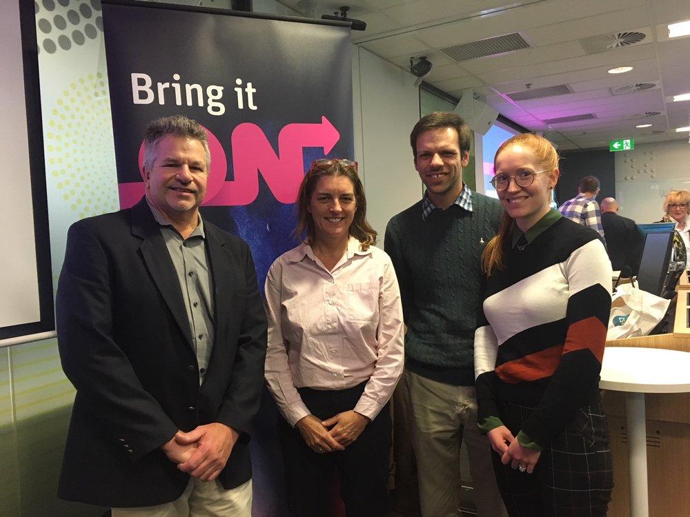L-R: Dr Stephen Rose (CSIRO), Dr Elizabeth Evans (Invetus), Dr Simon Puttick (UQ/CSIRO), Sam Puttick, (CSIRO - Research Assistant)