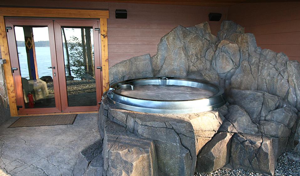 GFRC artificial rock hot tub surround