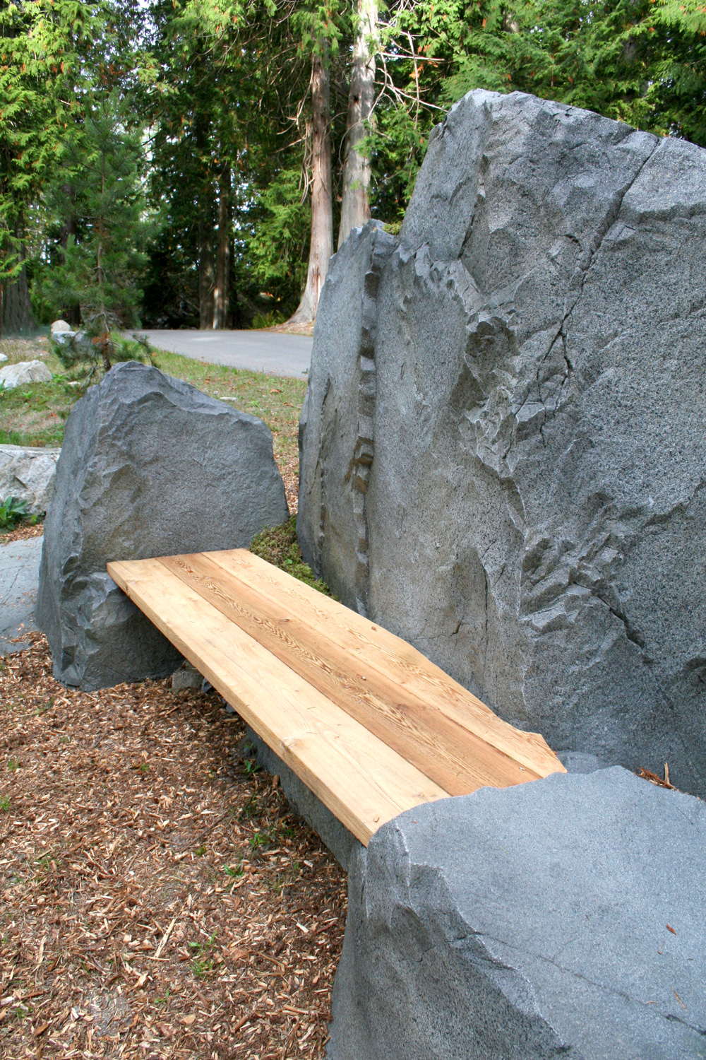 Mini Privacy Clean Granite Wall and Bench, Bowen Island BC