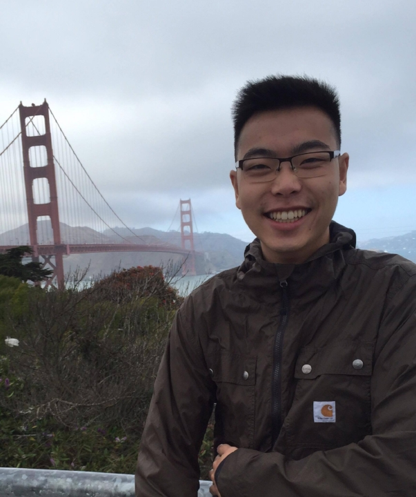 Kyle smiling at the thought of being able to cross the Golden Gate Bridge.