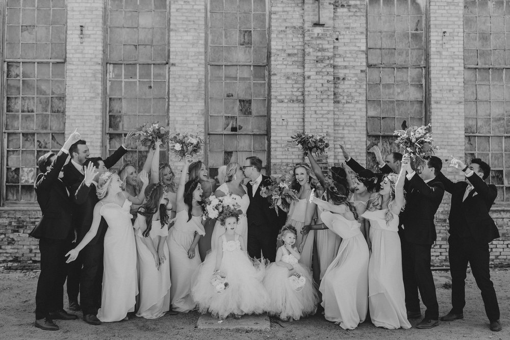 melissa wedding party cheering bw horz.jpg