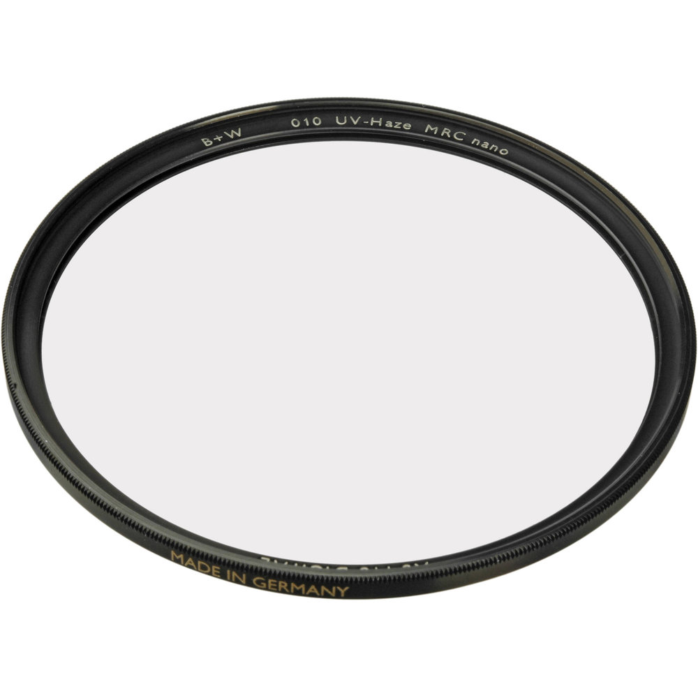 B&W Clear/UV A very high quality clear/UV filter is a smart choice when perhaps shooting in a situation where the front element of the lens warrants protection. Stunts, action, blood splatter, driving, etc. If something could be splattered, kicked up,  or sprayed.