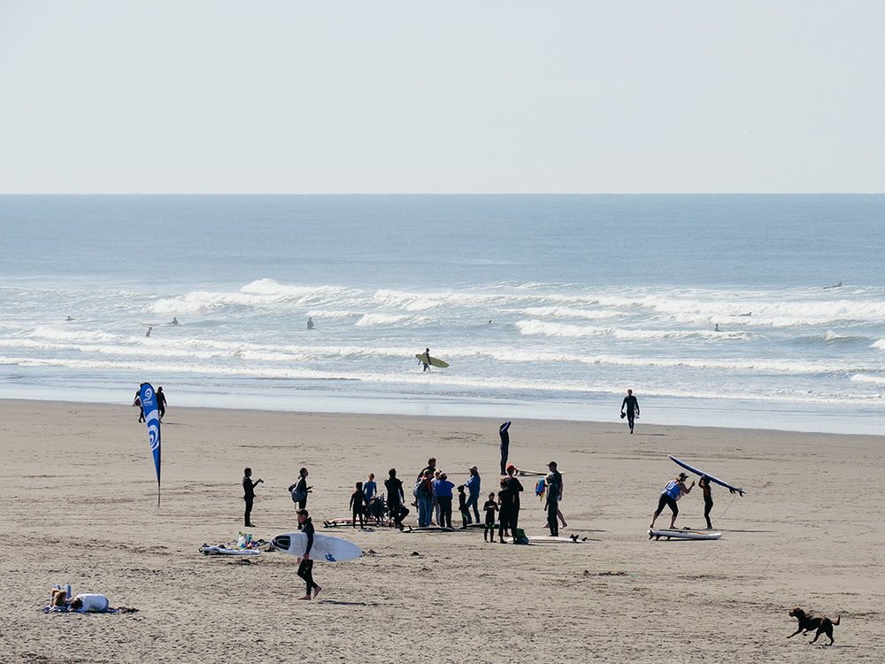 surfers on the westport beach