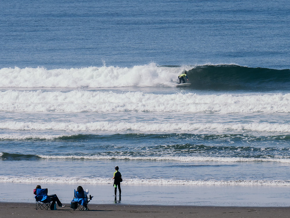 surfers surveying waves on the beach