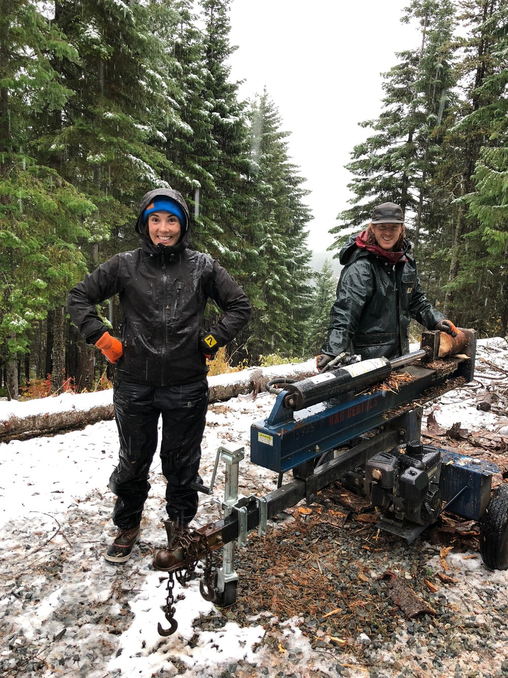 Who knew splitting wood in 32 degree slush could be so much fun!