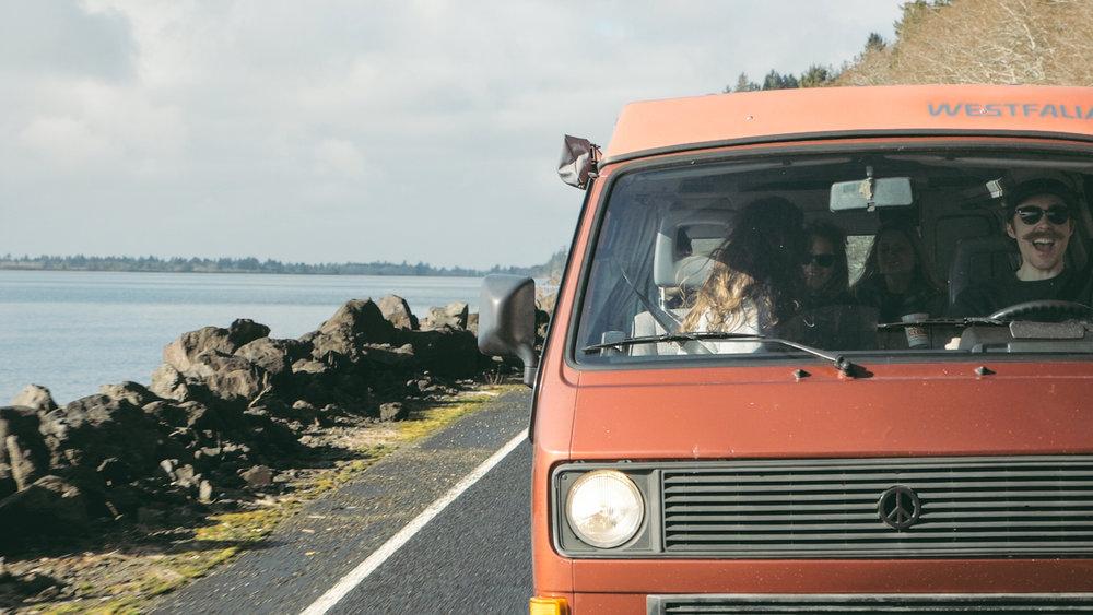 odd season camper van on the coast