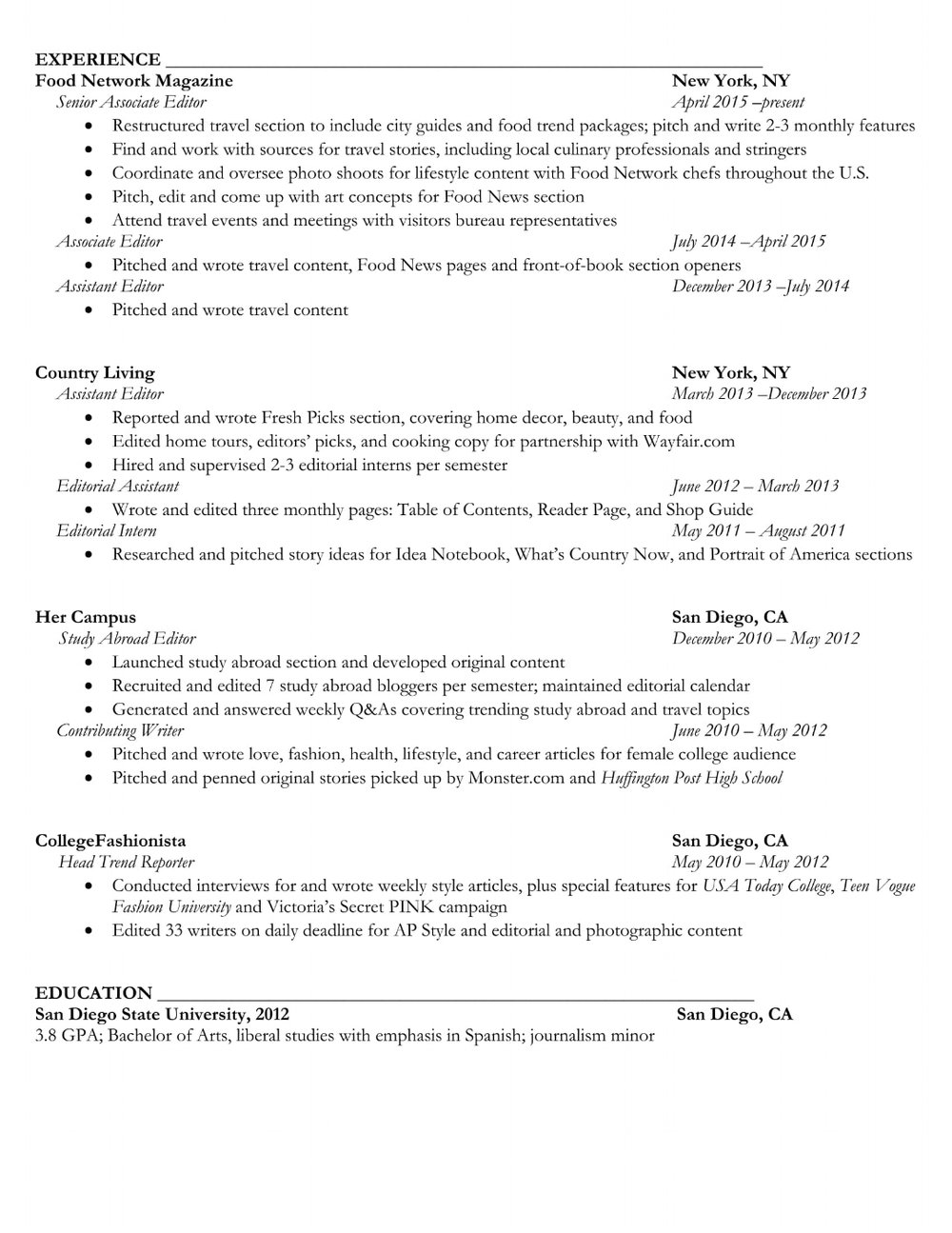 About · Work · Resume  Ap Style Resume