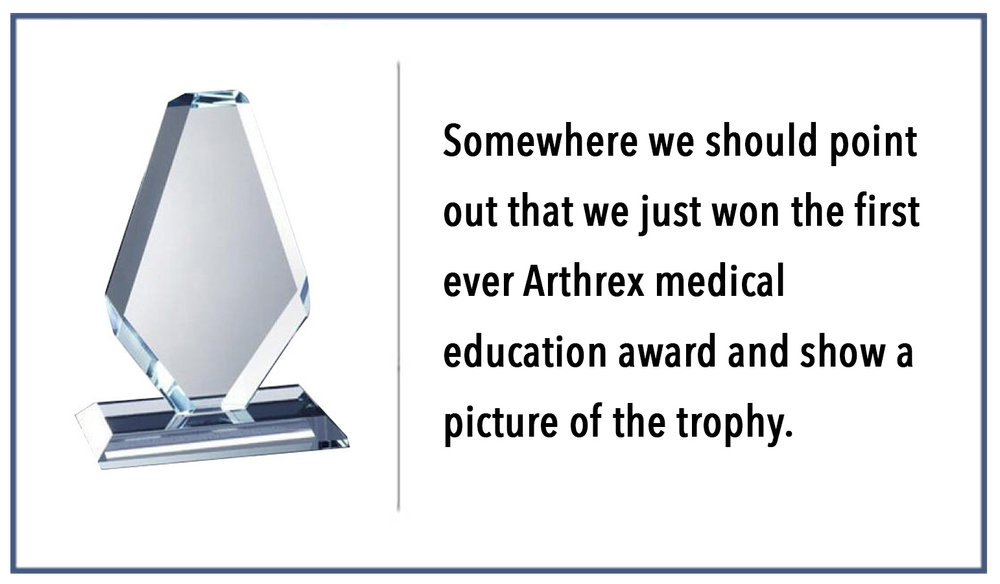 Award caption    Brief description: What makes Elite Orthopedic so unique? Stellar colleagues that share a common purpose. We thrive on creativity and a positive team spirit.
