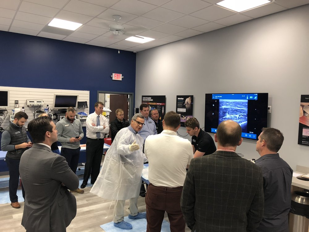 Bob Sciortino, MD, (Chesterfield, MO) demonstrates ultrasound-guided injection with the Synergy MSK ultrasound during one of Elite Orthopedics classes in their new facility