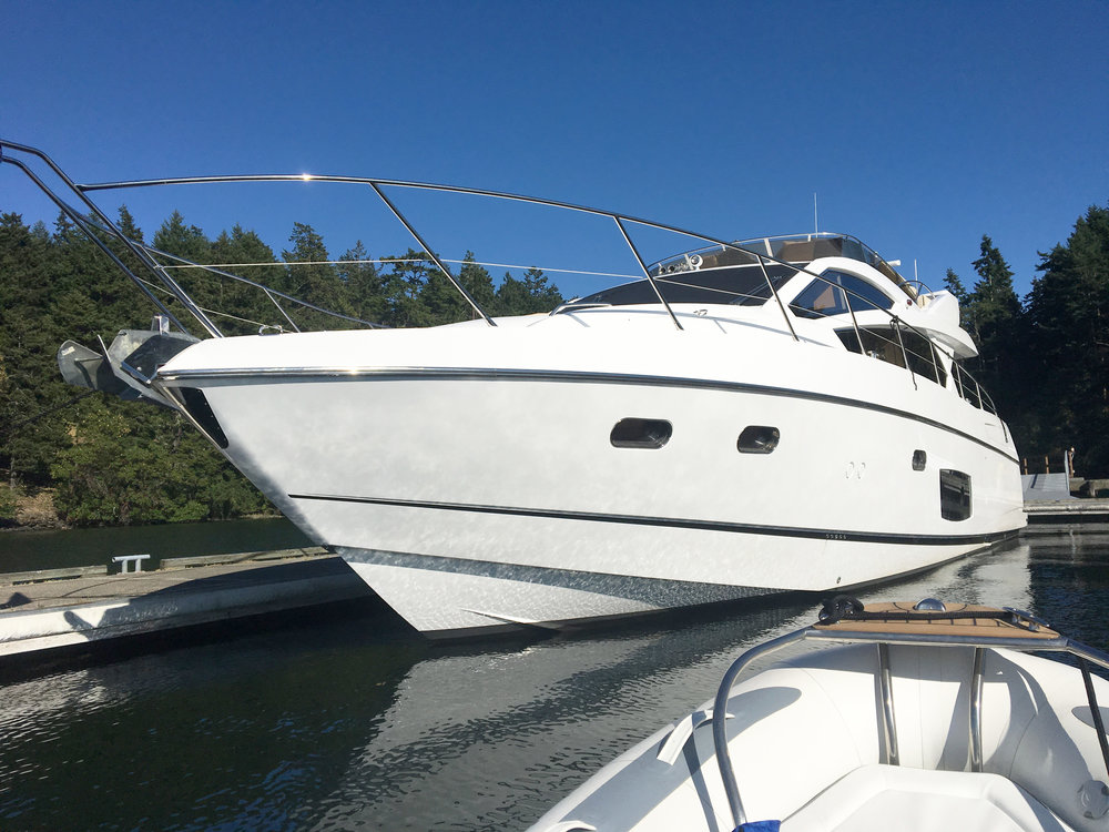 """Nicknamed the """"Gucci Dock,"""" the next steward of Friday Harbor Estate will enjoy a 110-foot long, deep water finger pier with private moorage."""