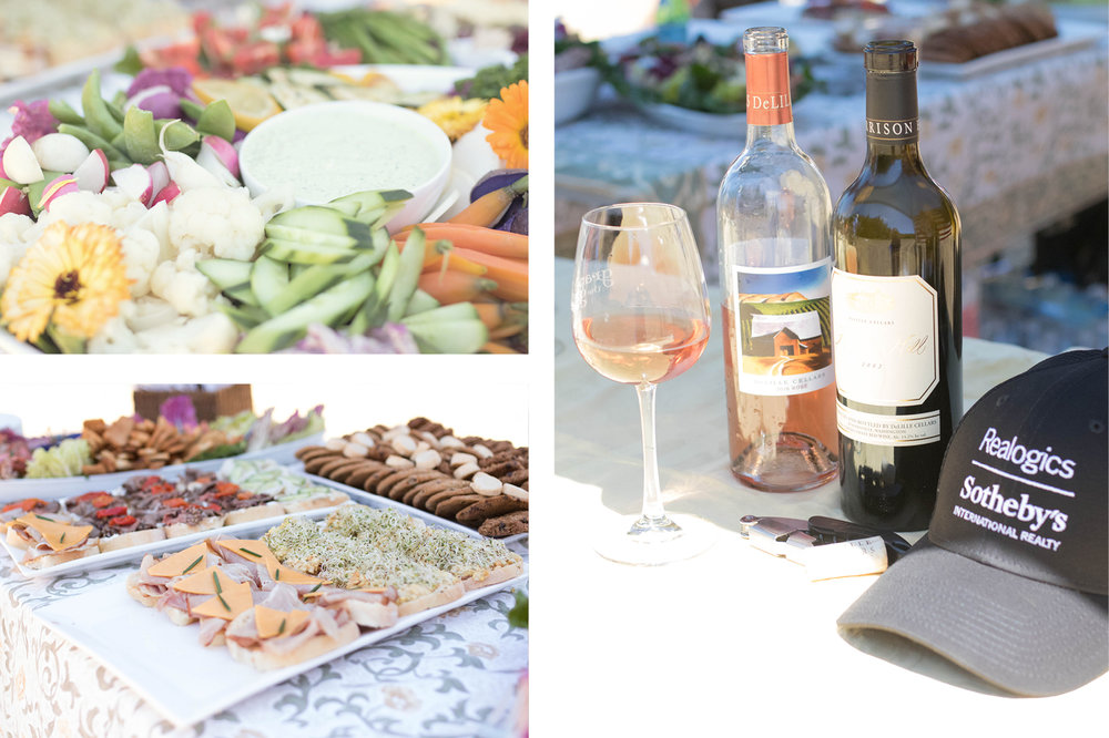 Above & Below: Guests were greeted in the meadow with local favorites by Market Chef and pours by Greg Lill of DeLille Cellars.