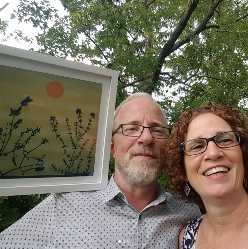 Happy Parents with their Mini Ketubah. Artwork by Indianapolis based artist, Casey Roberts.