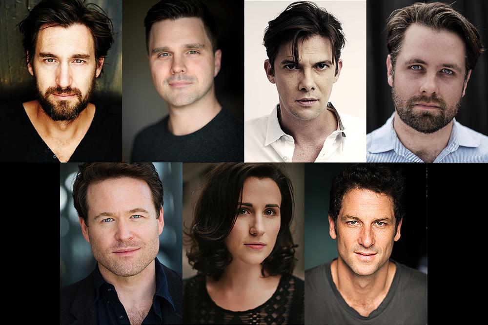 The Degenerate Art cast; Septimus Caton, Guy Edmonds, Toby Schmitz, Giles Gartrell-Mills, Henry Nixon, Megan O'Connell and Rupert Reid
